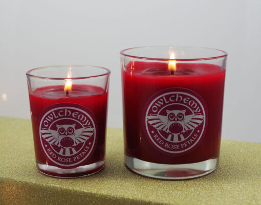 Red rose petal candles available from www.owlchemy.co.uk