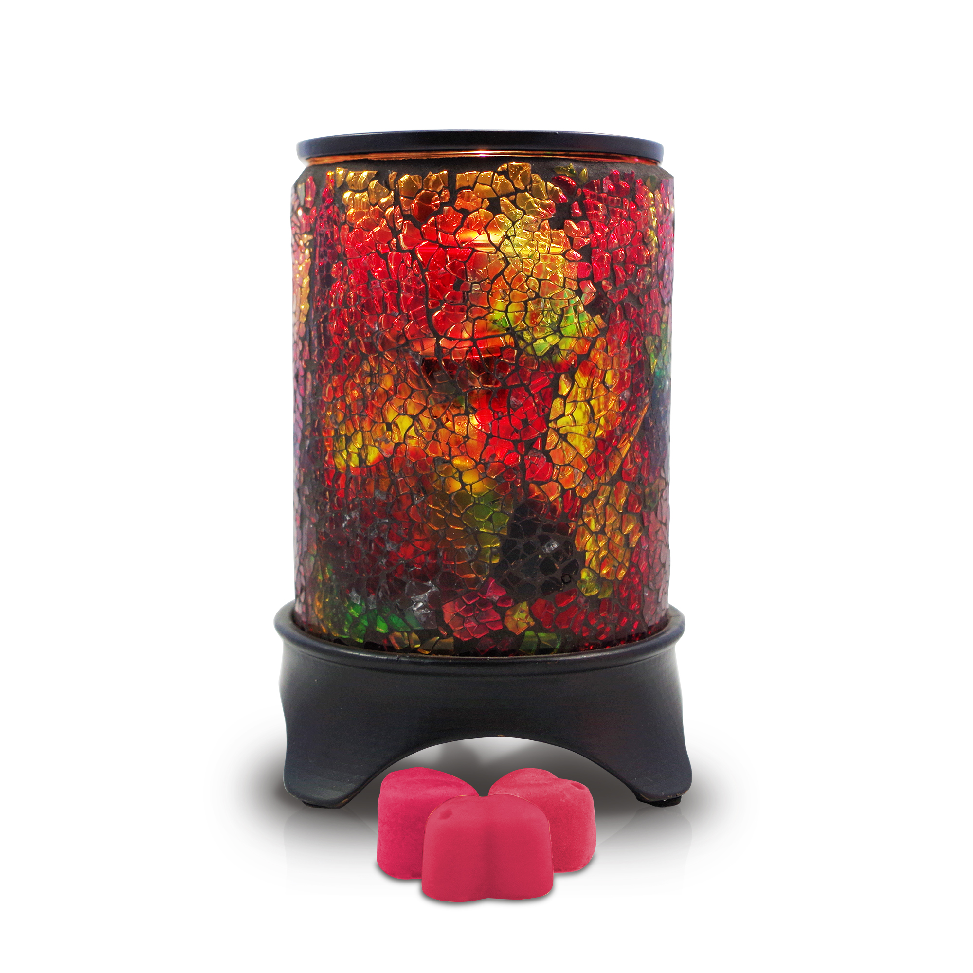 Our Rainbow Wax Warmer with three rose petal celebration beeswax melts.