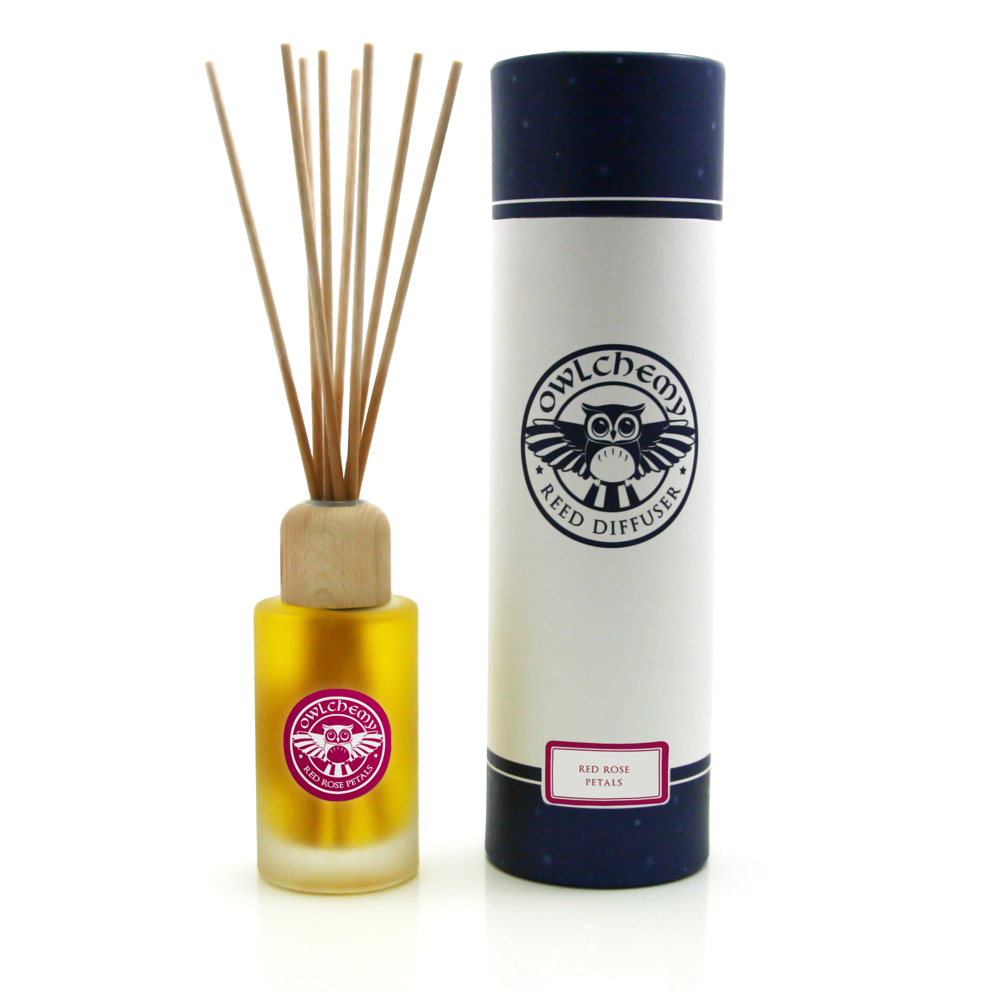 A bottle of our Celebration Reed Diffuser with Red Rose Petals next to its box.