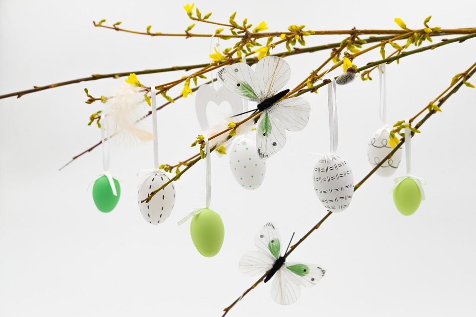 A selection of eggs hanging from an Easter tree.